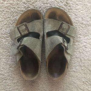 Birkenstock Arizona Suede Leather Sandal in Taupe